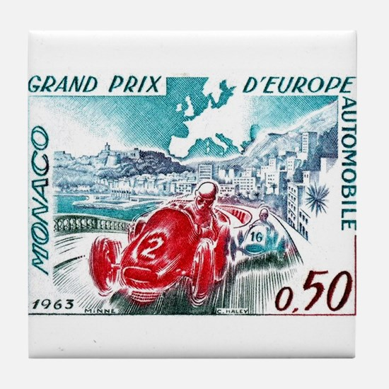 1963 Monaco Grand Prix Postage Stamp Tile Coaster