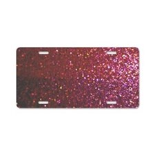 Hot Pink Faux Glitter Aluminum License Plate