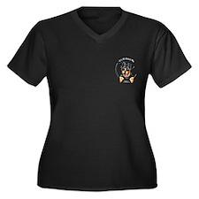 Pocket Rottie IAAM Women's Plus Size V-Neck Dark T