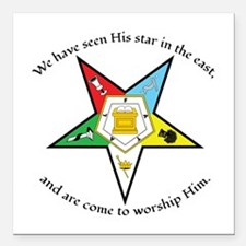 "Eastern Star Matthew 2:2 Square Car Magnet 3"""