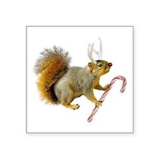 "Reindeer Squirrel Square Sticker 3"" x 3"""