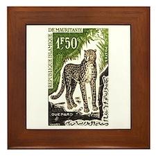 1963 Mauritania Cheetah Postage Stamp Framed Tile