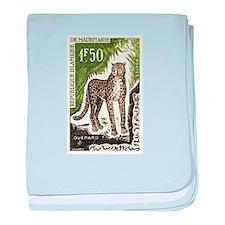 1963 Mauritania Cheetah Postage Stamp baby blanket