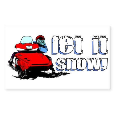 Let It Snowmobile Sticker (Rectangle)