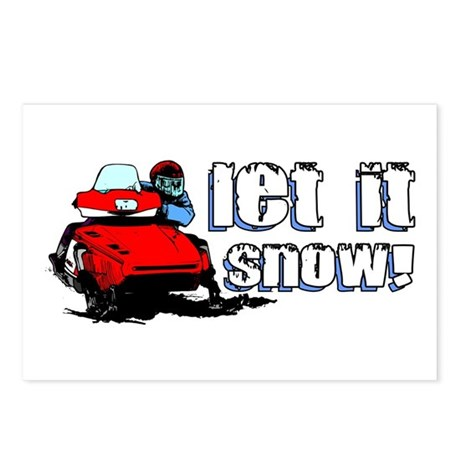 Let It Snowmobile Postcards (Package of 8)