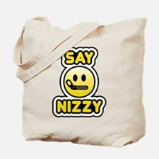 say nizzy bbm smiley Tote Bag