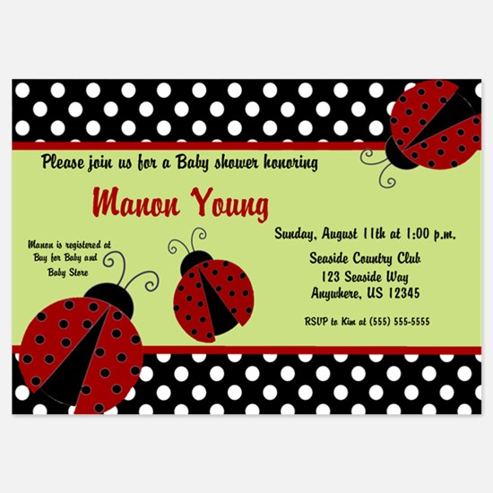 Ladybug Baby Shower Invite 5x7 Flat Cards