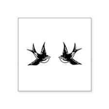 "Vintage Tattoo Swallows Square Sticker 3"" x 3"""