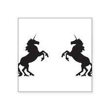 """Twin Unicorns Square Sticker 3"""" x 3"""""""