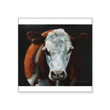 "Hereford Cattle Square Sticker 3"" x 3"""