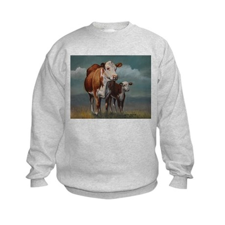 Hereford Cow and Calf in Pasture Kids Sweatshirt