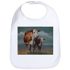 Hereford Cow and Calf in Pasture Bib