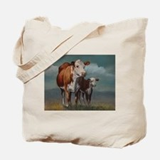 Hereford Cow and Calf in Pasture Tote Bag