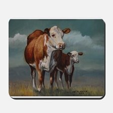 Hereford Cow and Calf in Pasture Mousepad
