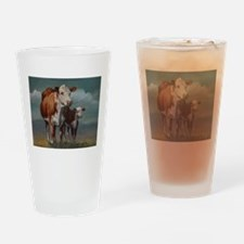 Hereford Cow and Calf in Pasture Drinking Glass