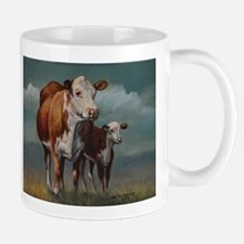 Hereford Cow and Calf in Pasture Mug