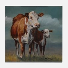 Hereford Cow and Calf in Pasture Tile Coaster