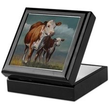 Hereford Cow and Calf in Pasture Keepsake Box