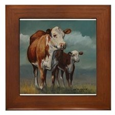 Hereford Cow and Calf in Pasture Framed Tile