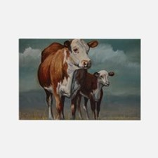 Hereford Cow and Calf in Pasture Rectangle Magnet