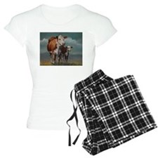 Hereford Cow and Calf in Pasture Pajamas