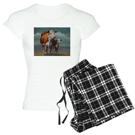 Hereford Cow and Calf in Pasture Women's Light Paj