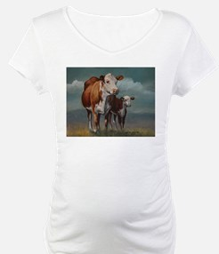 Hereford Cow and Calf in Pasture Shirt