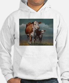 Hereford Cow and Calf in Pasture Hoodie