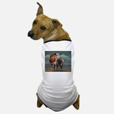Hereford Cow and Calf in Pasture Dog T-Shirt