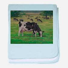 Holstein Milk Cow in Pasture baby blanket