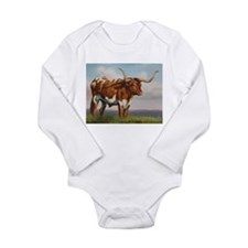 Texas Longhorn Steer Long Sleeve Infant Bodysuit