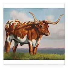 "Texas Longhorn Steer Square Car Magnet 3"" x 3"""