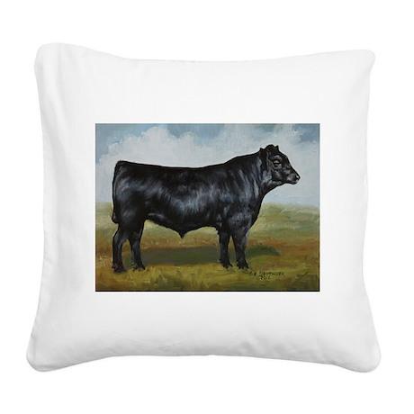 Black Angus Square Canvas Pillow