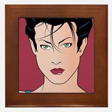 Pop Art Girl Sara Framed Tile