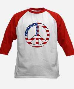 Kids 4th of July T-Shirt Peace Sign American Flag