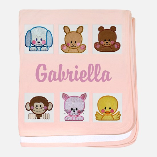 Personalised Sweet Round Animals Baby Girl Blanket