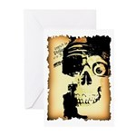 Halloween Skull Pirate Greeting Cards (Package of