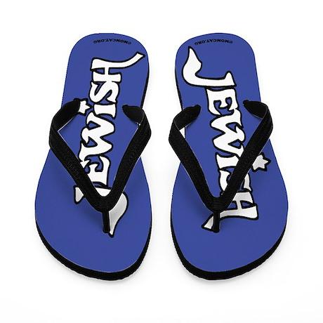 Jewish (white on dark blue) Flip Flops