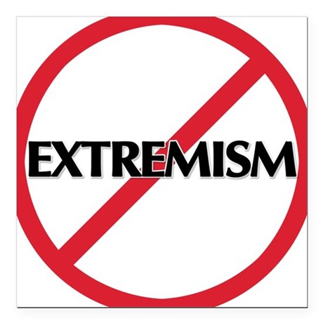 "No Extremism Square Car Magnet 3"" x 3"""