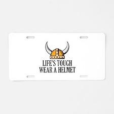 Wear A Helmet Aluminum License Plate
