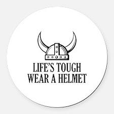 Wear A Helmet Round Car Magnet