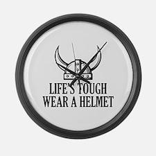 Wear A Helmet Large Wall Clock