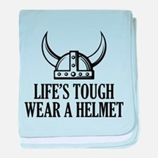 Wear A Helmet baby blanket
