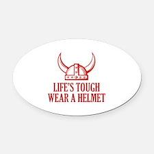 Wear A Helmet Oval Car Magnet