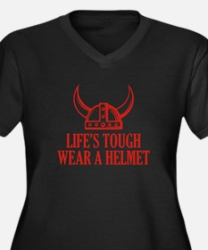 Wear A Helmet Women's Plus Size V-Neck Dark T-Shir