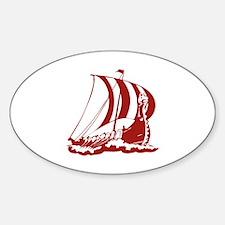 Viking Ship Sticker (Oval)