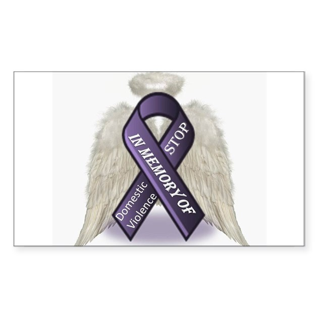 Domestic Violence Content: Domestic Violence Angel Sticker (Rectangle) By HopeforCures