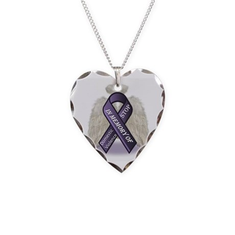 Domestic Violence Angel Necklace Heart Charm