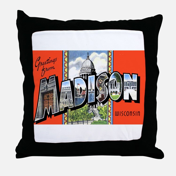 Madison Wisconsin Greetings Throw Pillow