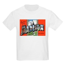 Madison Wisconsin Greetings (Front) Kids T-Shirt